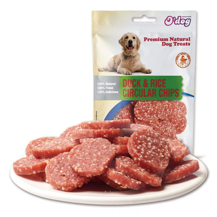 Duck meat with rice circular chip dog training treats high nutrition pet snacks for dog high protein and low fat dog snacks