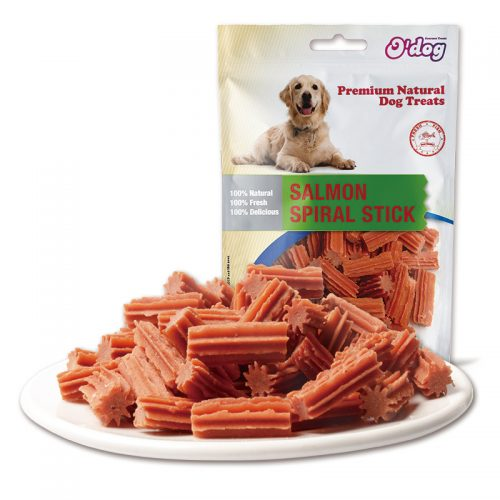 Pet food for dog salmon spiral stick seafood oem dog training treats dental chew healthy snacks manufacture dog chew snacks