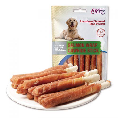 Salmon wrap cowhide stick dog treats pet snacks pet training treats wholesale dog seafood snacks dog dental chew snacks