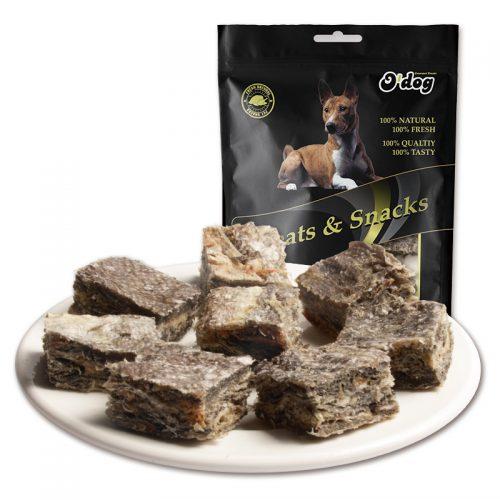 Healthy qingdao seafood fish skin pet treats dog training treats manufacture pet food for dog dry snacks wholesale dog treats
