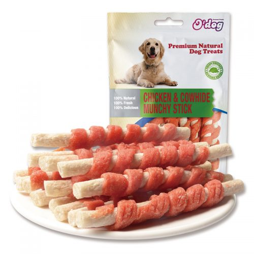 Chicken rawhide munchy stick chew snacks for dog wholesale pet food oem dog training treats dental chew snacks manufacture