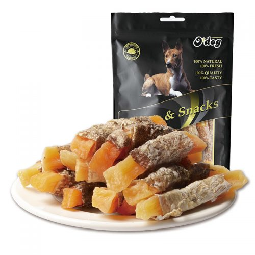 Fish skin wrap sweet potato seafood and original sweet potato pet organic snack for dog wholesale dog treats dog food partner