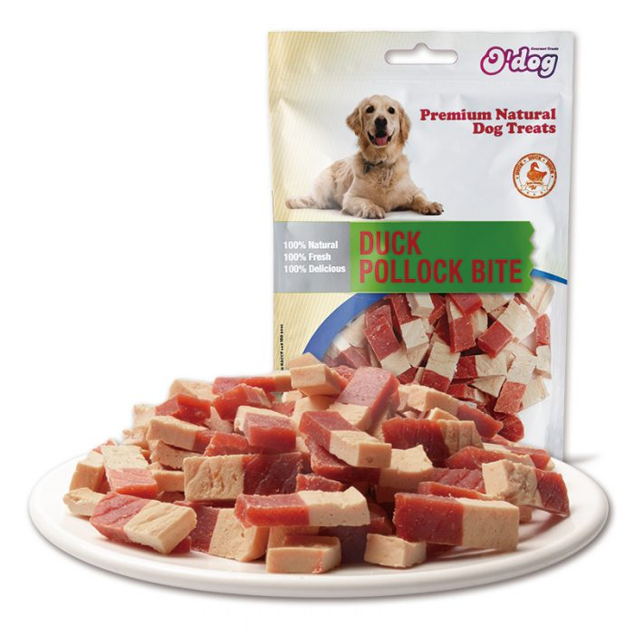 Duck and pollock bite dog snacks oem pet food for dogs training treats manufacture wholesale pet food importer pet treats