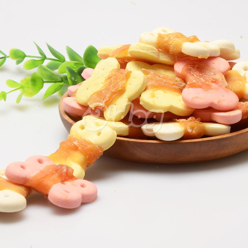 Chicken with bone shape biscuit healthy dog treats nutrition bone shape oem dog snacks pet food manufacture wholesale dog food
