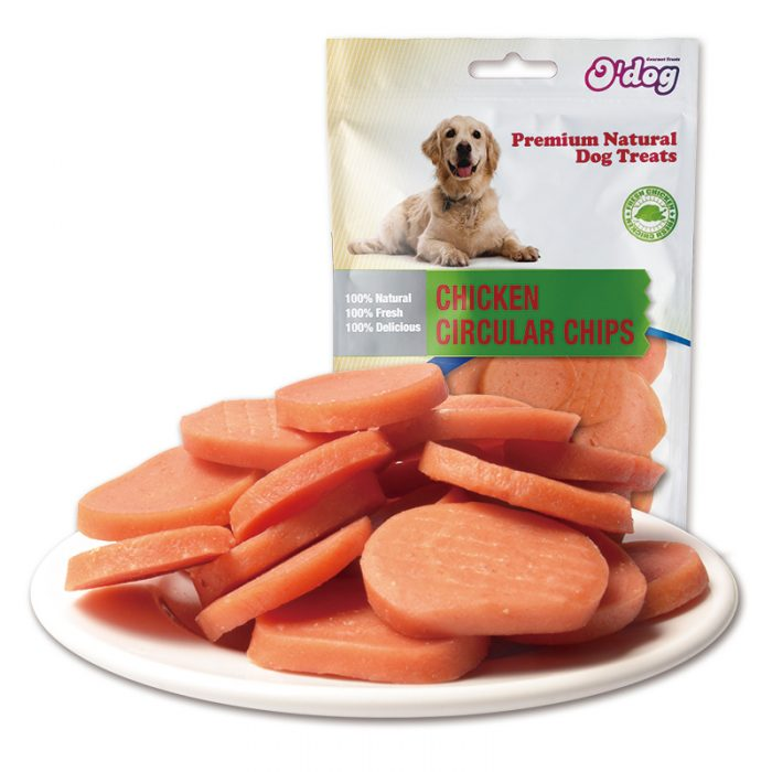 Healthy chicken circular chip dog snacks nutritious chicken slices wholesale dog training treats OEM dry pet food importer