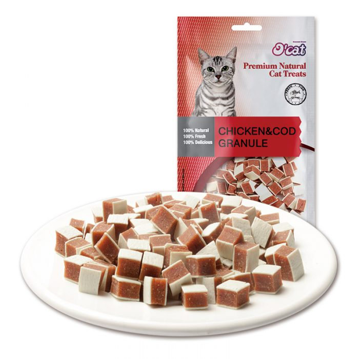 Healthy chicken meat liver fish granule oem dry chew pet food factory fish and chicken meat wholesale cat snacks importer