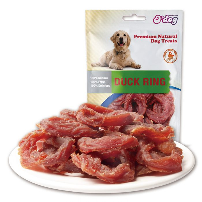 Pure meat high protein dog snacks duck meat ring oem healthy pet dry food for dog organic dog food manufacture