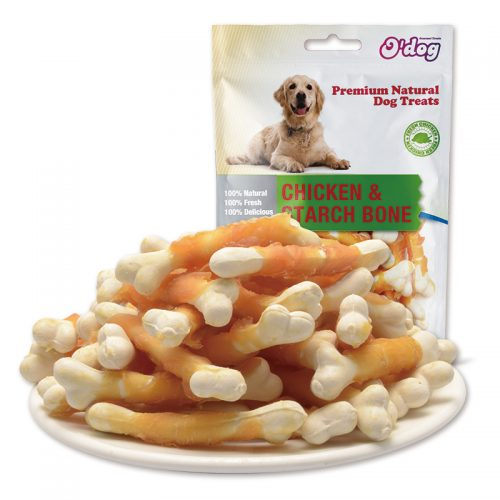 Chicken starch bone dog chew dry snacks training treats dog bone oem manufacture wholesale bones with chicken pet food importer