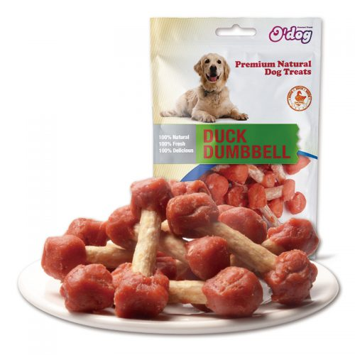 Original duck meat dumbbell dog snacks dry duck meat dog food training treats OEM pet food manufacture pet treats importer